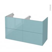 Meuble de salle de bains - Sous vasque double - KERIA Bleu - 4 tiroirs - Côtés décors - L120 x H70 x P50 cm
