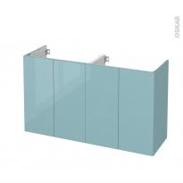 Meuble de salle de bains - Sous vasque double - KERIA Bleu - 4 portes - Côtés décors - L120 x H70 x P40 cm
