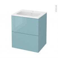 Meuble de salle de bains - Plan vasque REZO - KERIA Bleu - 2 tiroirs - Côtés décors - L60,5 x H71,5 x P50,5 cm