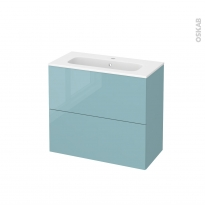 Meuble de salle de bains - Plan vasque REZO - KERIA Bleu - 2 tiroirs - Côtés décors - L80,5 x H71,5 x P40,5 cm