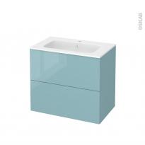 Meuble de salle de bains - Plan vasque REZO - KERIA Bleu - 2 tiroirs - Côtés décors - L80,5 x H71,5 x P50,5 cm