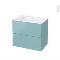Meuble de salle de bains - Plan vasque VALA - KERIA Bleu - 2 tiroirs - Côtés décors - L80,5 x H71,2 x P50,5 cm