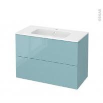 Meuble de salle de bains - Plan vasque REZO - KERIA Bleu - 2 tiroirs - Côtés décors - L100,5 x H71,5 x P50,5 cm