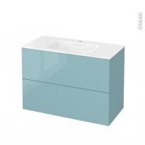Meuble de salle de bains - Plan vasque VALA - KERIA Bleu - 2 tiroirs - Côtés décors - L100,5 x H71,2 x P50,5 cm