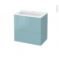 Meuble de salle de bains - Plan vasque REZO - KERIA Bleu - 2 tiroirs - Côtés décors - L60,5 x H58,5 x P40,5 cm