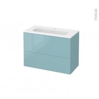 Meuble de salle de bains - Plan vasque REZO - KERIA Bleu - 2 tiroirs - Côtés décors - L80,5 x H58,5 x P40,5 cm