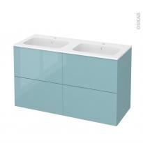 Meuble de salle de bains - Plan double vasque REZO - KERIA Bleu - 4 tiroirs - Côtés décors - L120,5 x H71,5 x P50,5 cm
