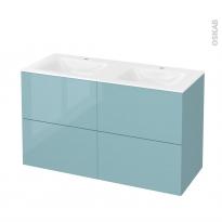 Meuble de salle de bains - Plan double vasque VALA - KERIA Bleu - 4 tiroirs - Côtés décors - L120,5 x H71,2 x P50,5 cm