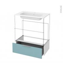 Tiroir sous meuble - Socle n°101 - KERIA Bleu - pour meuble salle de bains - L80 x H26 x P45 cm