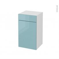 Meuble de salle de bains - Rangement bas - KERIA Bleu - 1 porte 1 tiroir - L40 x H70 x P37 cm