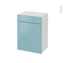 Meuble de salle de bains - Rangement bas - KERIA Bleu - 1 porte 1 tiroir - L50 x H70 x P37 cm