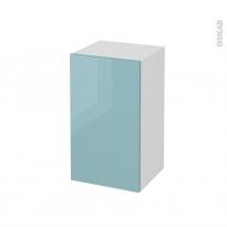 Meuble de salle de bains - Rangement bas - KERIA Bleu - 1 porte - L40 x H70 x P37 cm