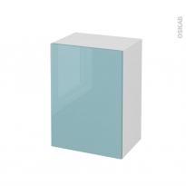Meuble de salle de bains - Rangement bas - KERIA Bleu - 1 porte - L50 x H70 x P37 cm