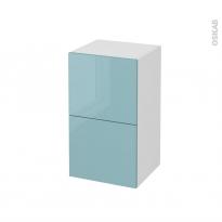 Meuble de salle de bains - Rangement bas - KERIA Bleu - 2 tiroirs 1 tiroir à l'anglaise - L40 x H70 x P37 cm