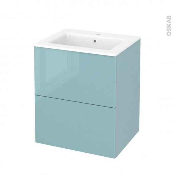 Meuble de salle de bains plan vasque naja keria bleu 2 for Meuble 5 tiroirs