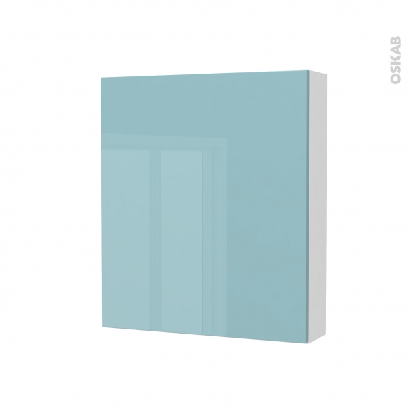 Armoire de toilette - Rangement haut - KERIA Bleu - 1 porte - Côtés blancs - L60 x H70 x P17 cm