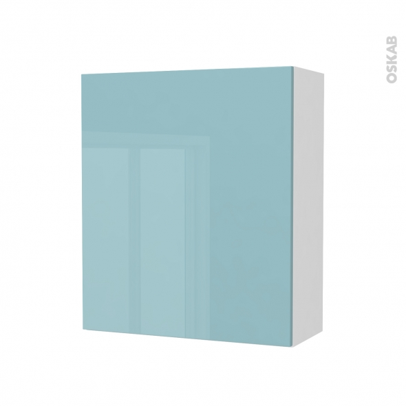 Armoire de salle de bains - Rangement haut - KERIA Bleu - 1 porte - Côtés blancs - L60 x H70 x P27 cm
