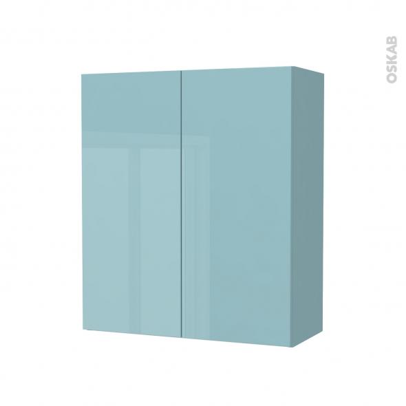 Armoire de salle de bains - Rangement haut - KERIA Bleu - 2 portes - Côtés décors - L60 x H70 x P27 cm