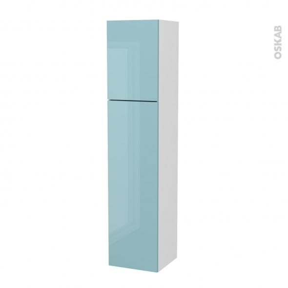 Colonne de salle de bains - 2 portes - KERIA Bleu - Côtés blancs - Version A - L40 x H182 x P40 cm