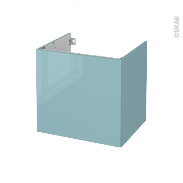Meuble de salle de bains - Sous vasque - KERIA Bleu - 1 porte - Côtés décors - L60 x H57 x P50 cm