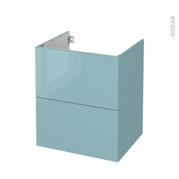 Meuble de salle de bains - Sous vasque - KERIA Bleu - 2 tiroirs - Côtés décors - L60 x H70 x P50 cm