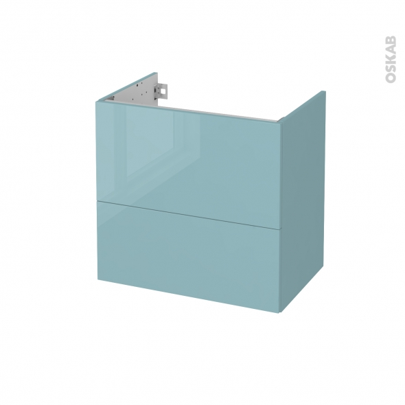 Meuble de salle de bains - Sous vasque - KERIA Bleu - 2 tiroirs - Côtés décors - L60 x H57 x P40 cm