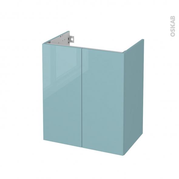 Meuble de salle de bains - Sous vasque - KERIA Bleu - 2 portes - Côtés décors - L60 x H70 x P40 cm