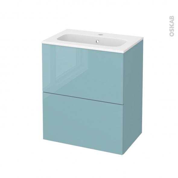 Meuble de salle de bains - Plan vasque REZO - KERIA Bleu - 2 tiroirs - Côtés décors - L60,5 x H71,5 x P40,5 cm