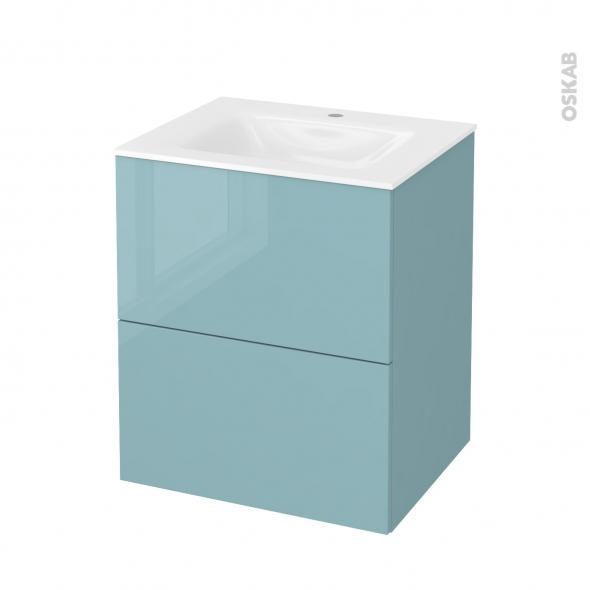 Meuble de salle de bains - Plan vasque VALA - KERIA Bleu - 2 tiroirs - Côtés décors - L60,5 x H71,2 x P50,5 cm