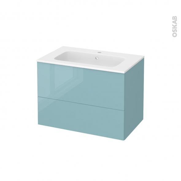Meuble de salle de bains - Plan vasque REZO - KERIA Bleu - 2 tiroirs - Côtés décors - L80,5 x H58,5 x P50,5 cm