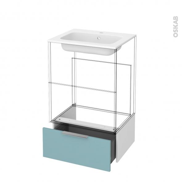 Tiroir sous meuble - Socle n°51 - KERIA Bleu - pour meuble salle de bains - L60 x H26 x P45 cm