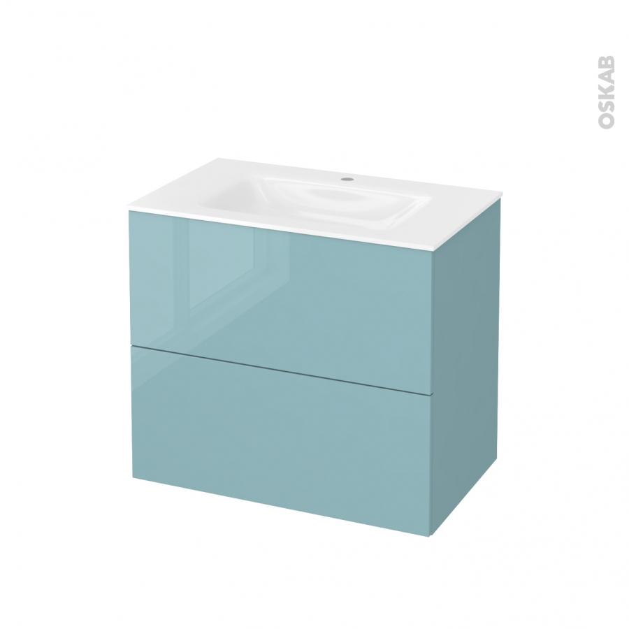 Meuble de salle de bains plan vasque vala keria bleu 2 - Meuble bas salle de bain sans vasque ...