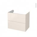 Meuble de salle de bains - Sous vasque - KERIA Ivoire - 2 tiroirs - Côtés décors - L80 x H70 x P50 cm