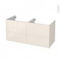 Meuble de salle de bains - Sous vasque double - KERIA Ivoire - 4 tiroirs - Côtés décors - L120 x H57 x P50 cm