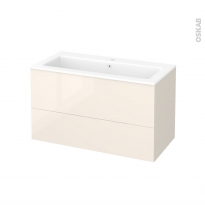 Meuble de salle de bains - Plan vasque NAJA - KERIA Ivoire - 2 tiroirs - Côtés décors - L100,5 x H58,5 x P50,5 cm