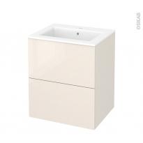 Meuble de salle de bains - Plan vasque NAJA - KERIA Ivoire - 2 tiroirs - Côtés décors - L60,5 x H71,5 x P50,5 cm