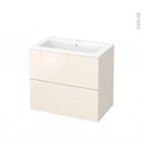 Meuble de salle de bains - Plan vasque NAJA - KERIA Ivoire - 2 tiroirs - Côtés décors - L80,5 x H71,5 x P50,5 cm