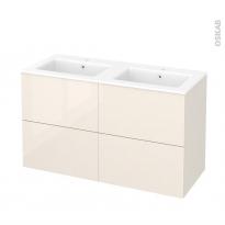 Meuble de salle de bains - Plan double vasque NAJA - KERIA Ivoire - 4 tiroirs - Côtés décors - L120,5 x H71,5 x P50,5 cm