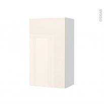 Armoire de salle de bains - Rangement haut - KERIA Ivoire - 1 porte - Côtés blancs - L40 x H70 x P27 cm