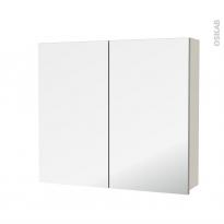 Armoire de toilette - Rangement haut - KERIA Ivoire - 2 portes miroir - Côtés décors - L80 x H70 x P17 cm