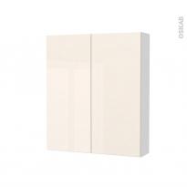 Armoire de toilette - Rangement haut - KERIA Ivoire - 2 portes - Côtés blancs - L60 x H70 x P17 cm