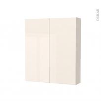 Armoire de toilette - Rangement haut - KERIA Ivoire - 2 portes - Côtés décors - L60 x H70 x P17 cm