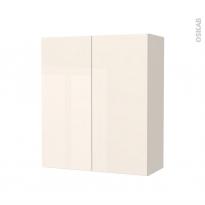 Armoire de salle de bains - Rangement haut - KERIA Ivoire - 2 portes - Côtés décors - L60 x H70 x P27 cm