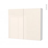 Armoire de toilette - Rangement haut - KERIA Ivoire - 2 portes - Côtés blancs - L80 x H70 x P17 cm