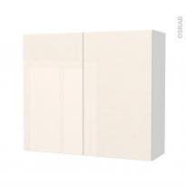 Armoire de salle de bains - Rangement haut - KERIA Ivoire - 2 portes - Côtés blancs - L80 x H70 x P27 cm