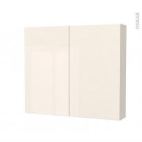 Armoire de toilette - Rangement haut - KERIA Ivoire - 2 portes - Côtés décors - L80 x H70 x P17 cm