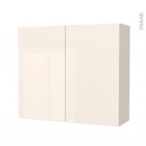 Armoire de salle de bains - Rangement haut - KERIA Ivoire - 2 portes - Côtés décors - L80 x H70 x P27 cm