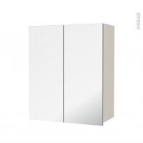 Armoire de salle de bains - Rangement haut - KERIA Ivoire - 2 portes miroir - Côtés décors - L60 x H70  xP27 cm