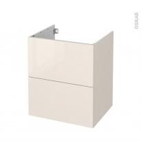 Meuble de salle de bains - Sous vasque - KERIA Ivoire - 2 tiroirs - Côtés décors - L60 x H70 x P50 cm
