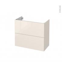 Meuble de salle de bains - Sous vasque - KERIA Ivoire - 2 tiroirs - Côtés décors - L80 x H70 x P40 cm